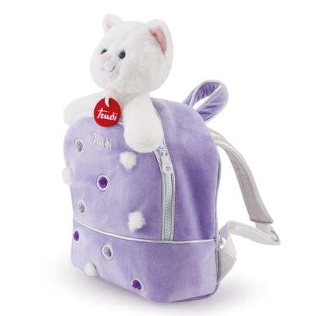 Pluszowy kotek w liliowym plecaku Trudi