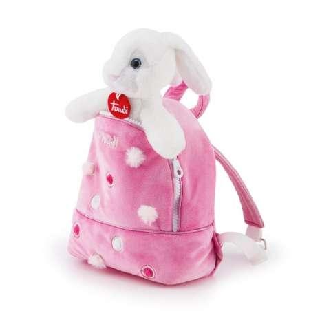 Pluszowy króliczek w różowym plecaku Trudi