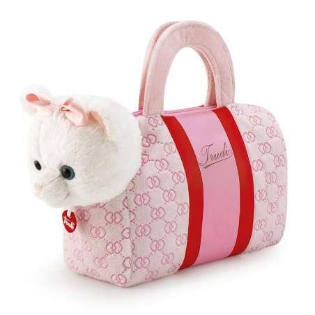 Biały kotek w różowej torebce Anastazja Trudi