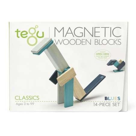 Drewniane klocki magnetyczne TEGU zestaw 14 sztuk Blues