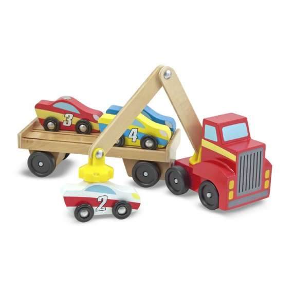 Ciężarówka z podnośnikiem i autkami
