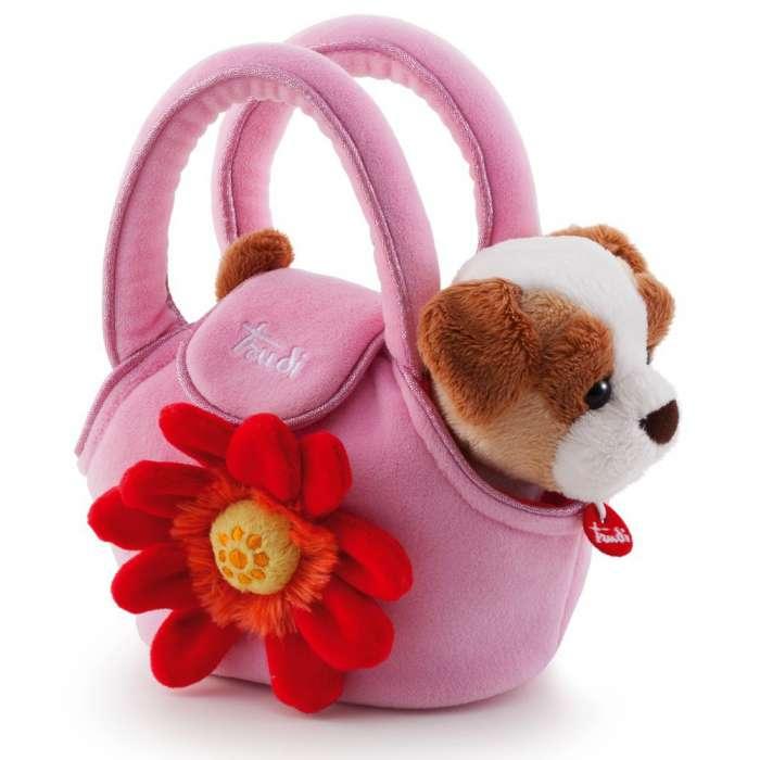 Piesek w różowej torebce z kwiatkiem, Trudi