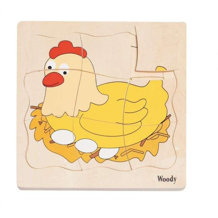 Życie kurki - puzzle warstwowe Woodyland