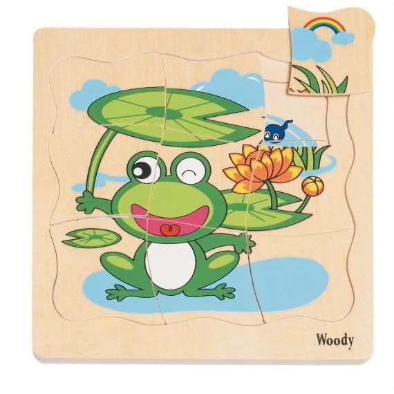 Życie żaby - puzzle warstwowe Woodyland