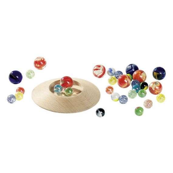 Szklane kulki z talerzem do gry, 31 sztuk