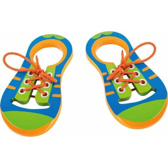 Drewniane buciki do nauki sznurowania - Zestaw
