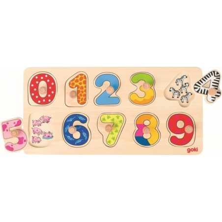Cyfry i zwierzęta drewniana układanka