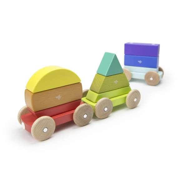 Drewniane klocki magnetyczne TEGU Magnetyczny Pociąg Rainbow