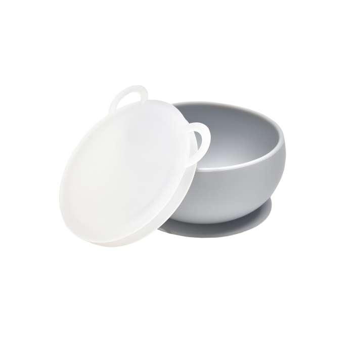 Miseczka silikonowa z pokrywką i przyssawką szara