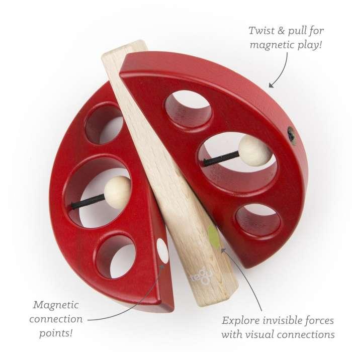 Drewniane klocki magnetyczne TEGU Biedronka Swivel Bug Red