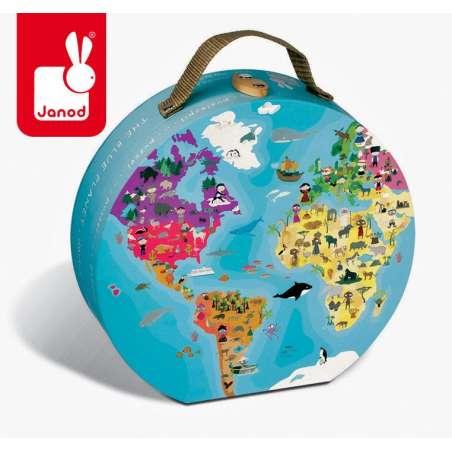 Puzzle dwustronne w walizce Błękitna planeta, Janod