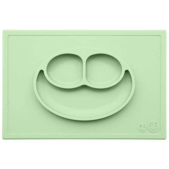 Silikonowy talerzyk z podkładką 2w1 Happy Mat pastelowa zieleń