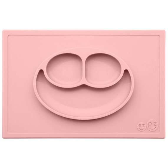 Silikonowy talerzyk z podkładką 2w1 Happy Mat pastelowy róż