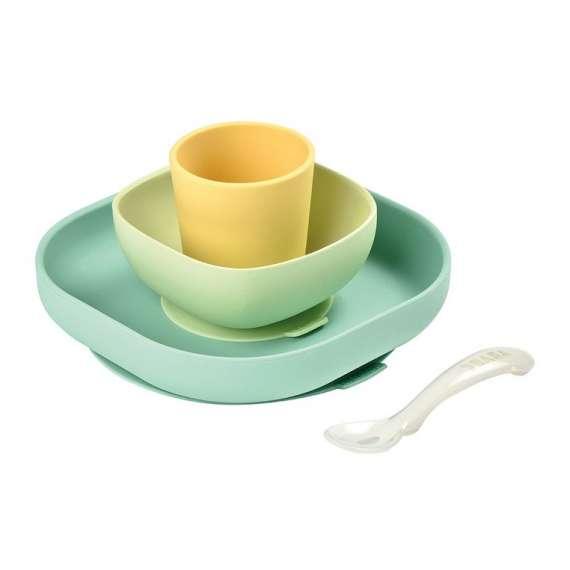 Zestaw naczyń z silikonu z przyssawką yellow