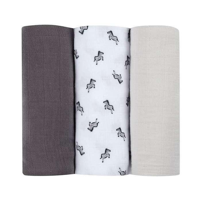 Beaba Muślinowe pieluszki - kocyki z bawełny organicznej 70x70 cm zestaw 3 szt. Sawanna