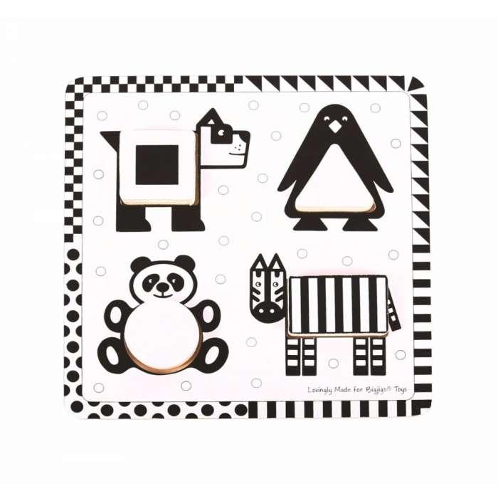 Czarno-biała układanka zwierzęta