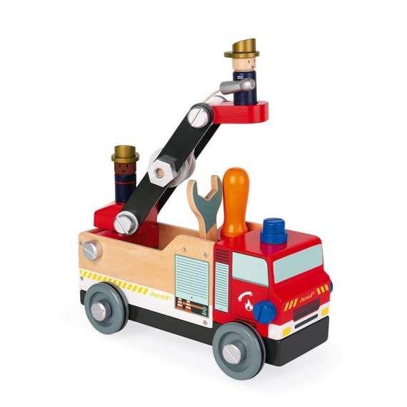 Drewniany wóz strażacki do składania z narzędziami Brico'kids, Janod