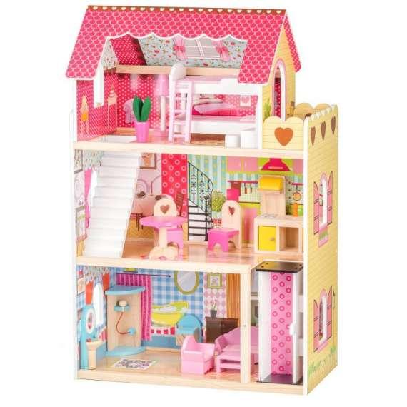 Drewniany domek dla lalek - Rezydencja Malinowa z windą Ecotoys
