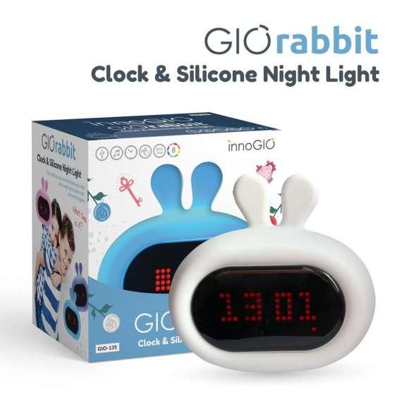 InnoGIO Silikonowa lampka nocna z budzikiem GIOrabbit